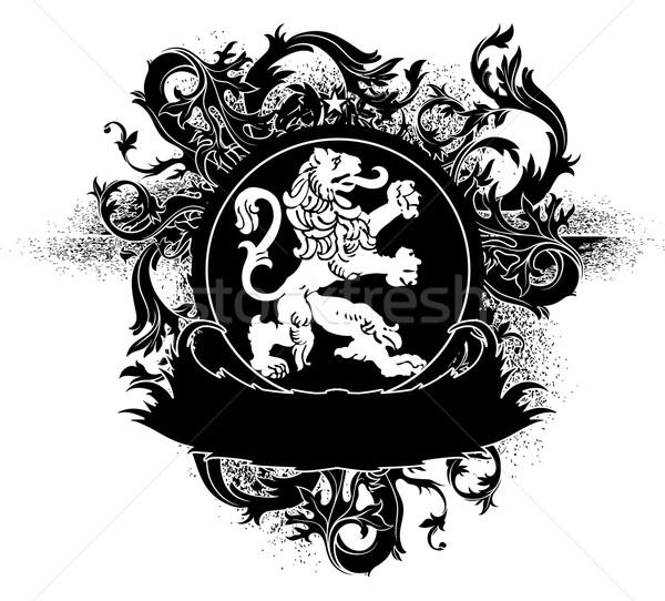 декоративный щит лев украшенный ретро графических Сток-фото © kjolak