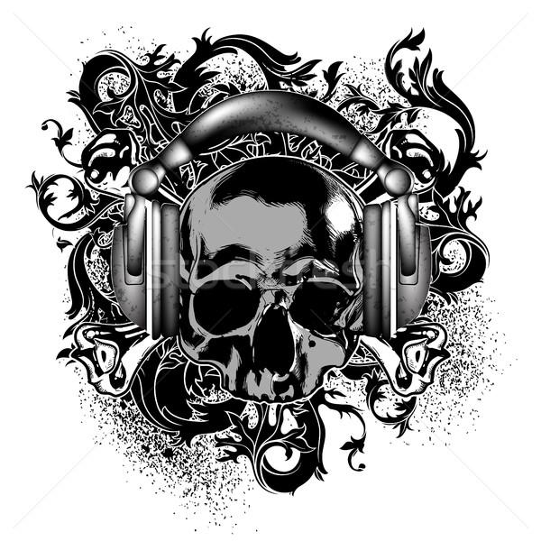 Schedel decoratief hoofdtelefoon abstract achtergrond dode Stockfoto © kjolak