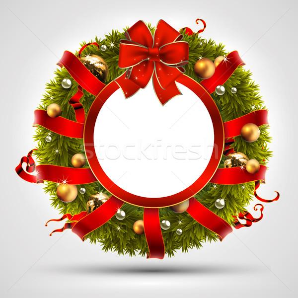декоративный Рождества венок украшенный ель Сток-фото © kjolak