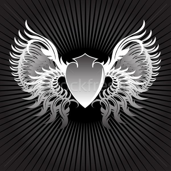 Pajzs szárnyak illusztráció hasznos designer munka Stock fotó © kjolak