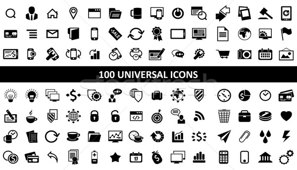 hundred media icons Stock photo © kjolak