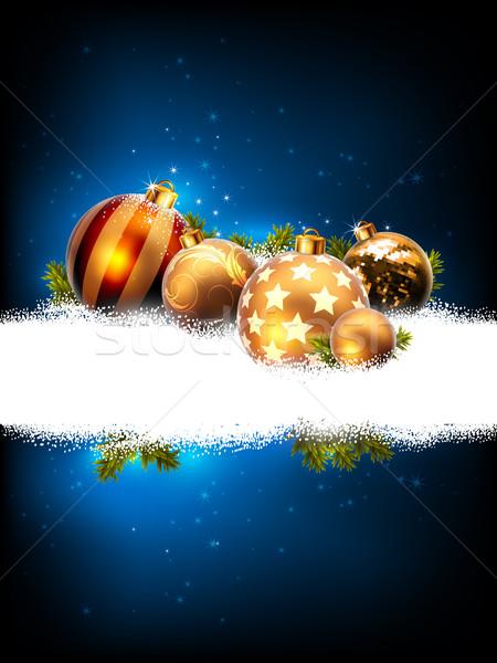 Karácsony dekoratív kék díszített fenyő golyók Stock fotó © kjolak