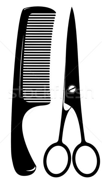 Pettine forbici capelli bianco Foto d'archivio © kjolak