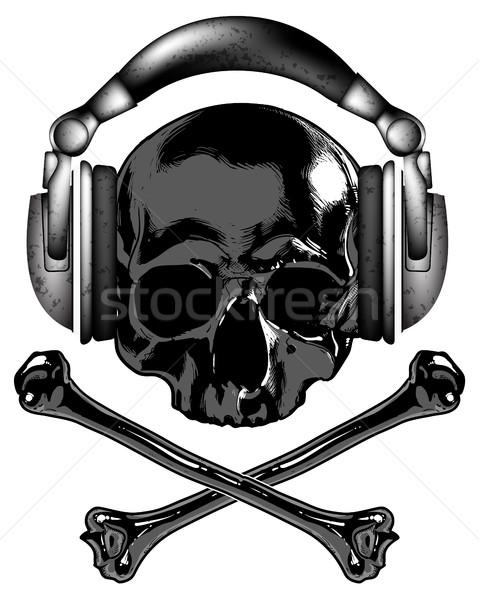 skull in headphones Stock photo © kjolak
