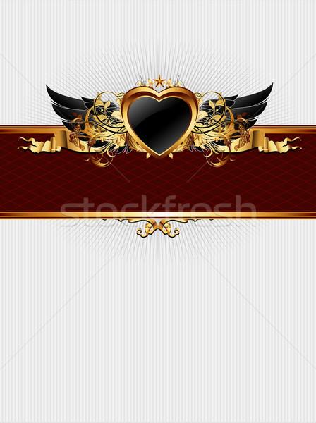 Stock fotó: Díszes · keret · szív · űrlap · illusztráció · hasznos