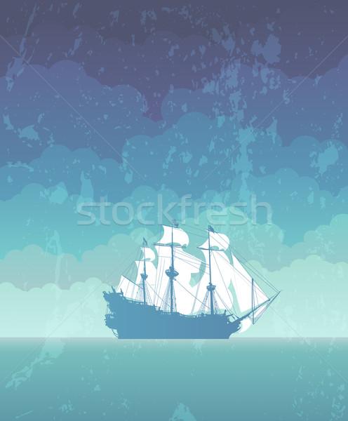 sailboat with white sails Stock photo © kjolak