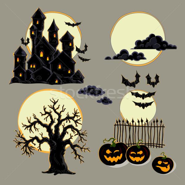 Stock fotó: Szett · halloween · elemek · illusztráció · hasznos · designer