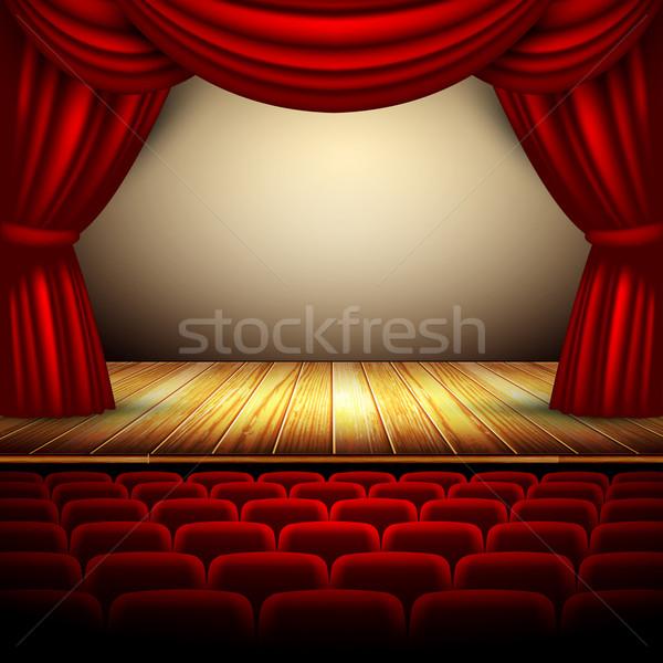Theater fase Rood gordijn kunst Stockfoto © kjolak