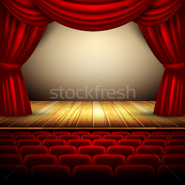 Teatro fase rosso sipario arte Foto d'archivio © kjolak