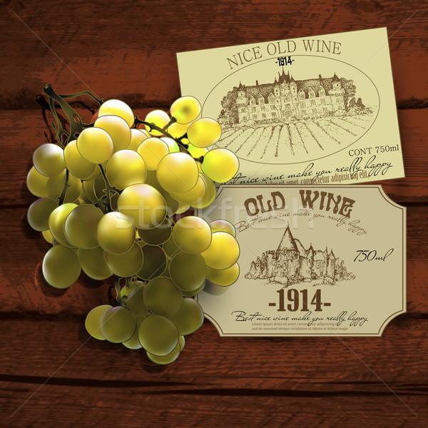 Wina winorośl żółty winogron dwa Zdjęcia stock © kjolak
