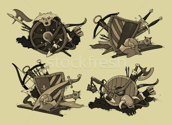 set of shields medieval Stock photo © kjolak