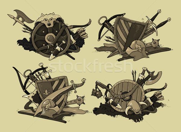 Set mittelalterlichen Hand Zeichnung Illustration nützlich Stock foto © kjolak
