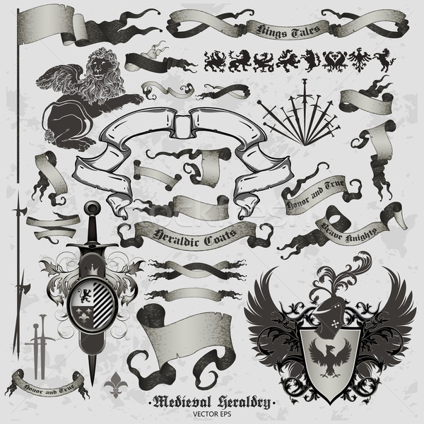 set of medieval heraldry Stock photo © kjolak