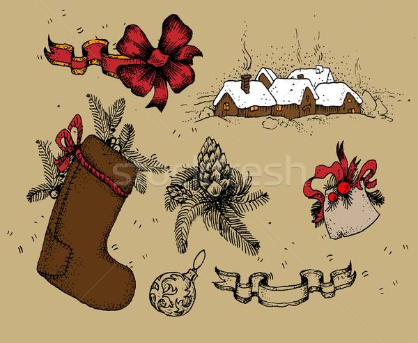 Stock fotó: Szett · karácsony · elemek · illusztráció · hasznos · designer