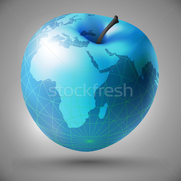 Stock foto: Apfel · dekorativ · blau · Form · Welt · Karte