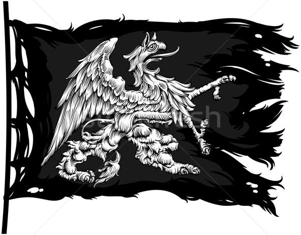 средневековых старые баннер изображение грифон Сток-фото © kjolak