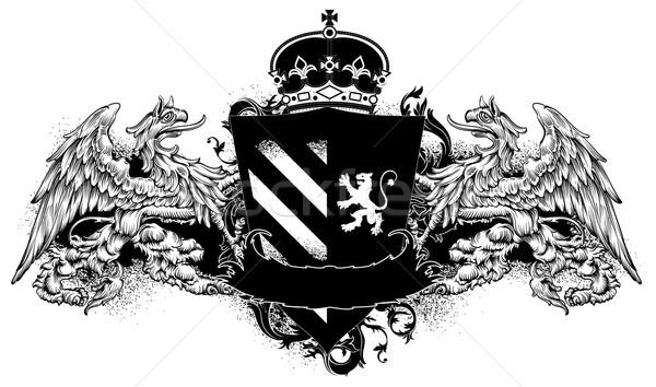 декоративный щит средневековых украшенный корона грифон Сток-фото © kjolak