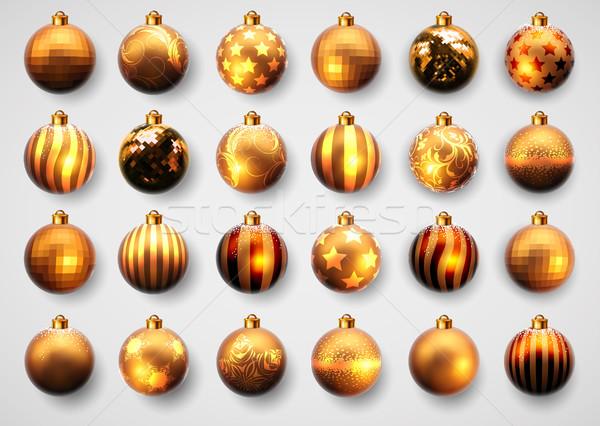 set of golden cristmas balls Stock photo © kjolak