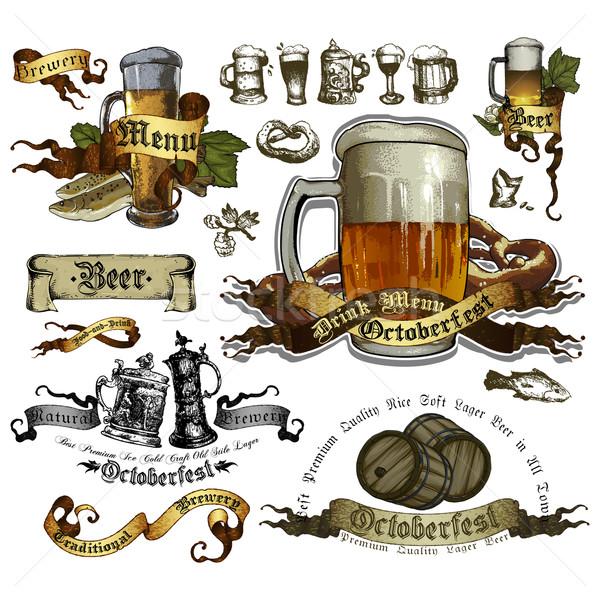 Szett sör elemek Oktoberfest fesztivál terv Stock fotó © kjolak