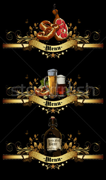 Menü terv sör design sablon étterem fekete Stock fotó © kjolak