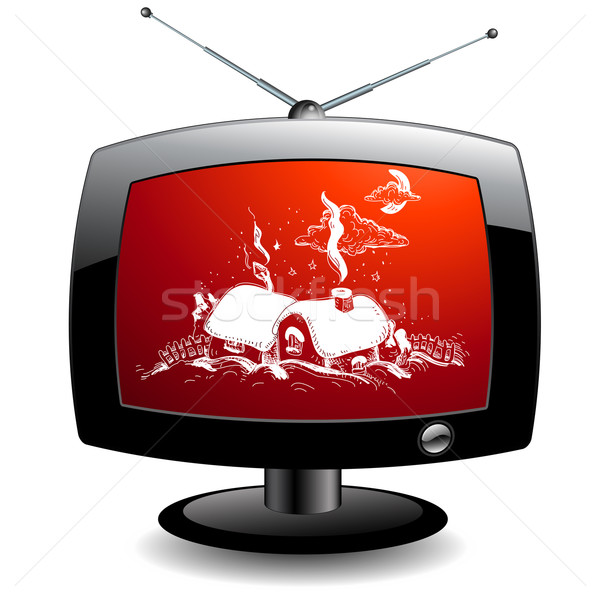 TV icon with christmas village Stock photo © kjolak