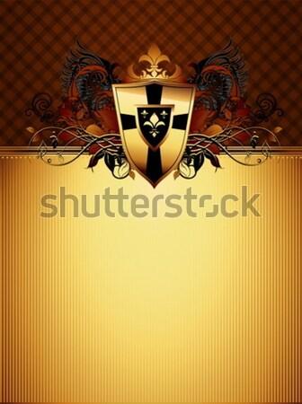 декоративный щит оружия иллюстрация полезный дизайнера Сток-фото © kjolak