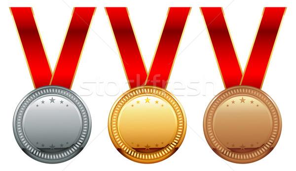 медаль набор иллюстрация полезный дизайнера работу Сток-фото © kjolak
