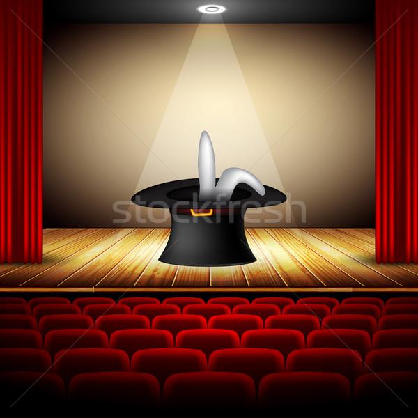 şapka büyücü sahne iç oditoryum sanat Stok fotoğraf © kjolak