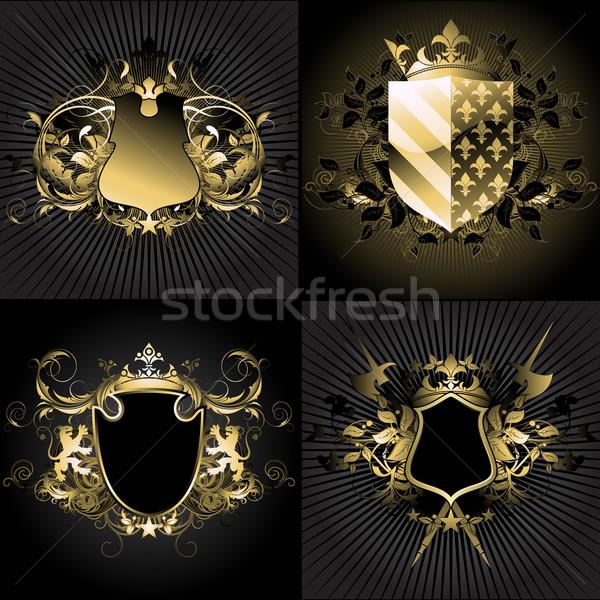 декоративный четыре щит украшенный темно искусства Сток-фото © kjolak