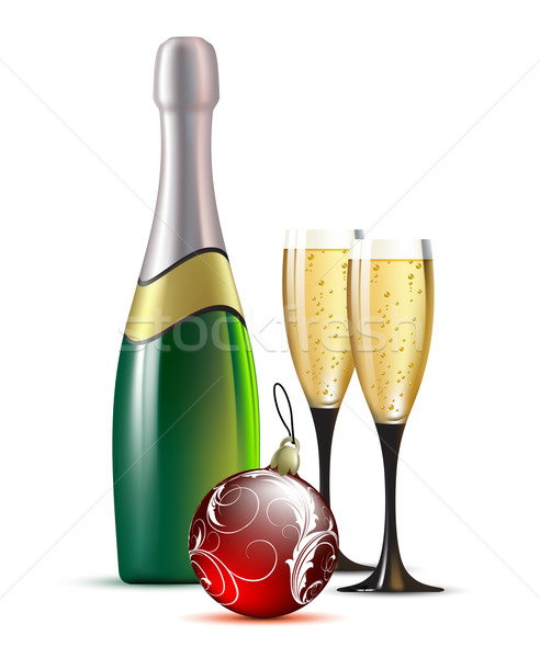 champagne with fir bal Stock photo © kjolak