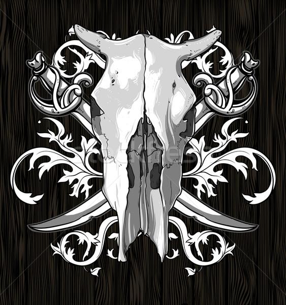 skull cow with sabers Stock photo © kjolak