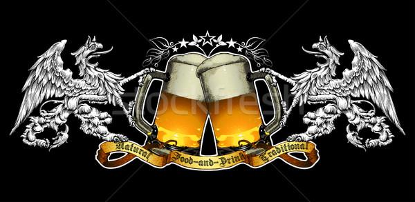 пива фон Label ретро-стиле черный бизнеса Сток-фото © kjolak