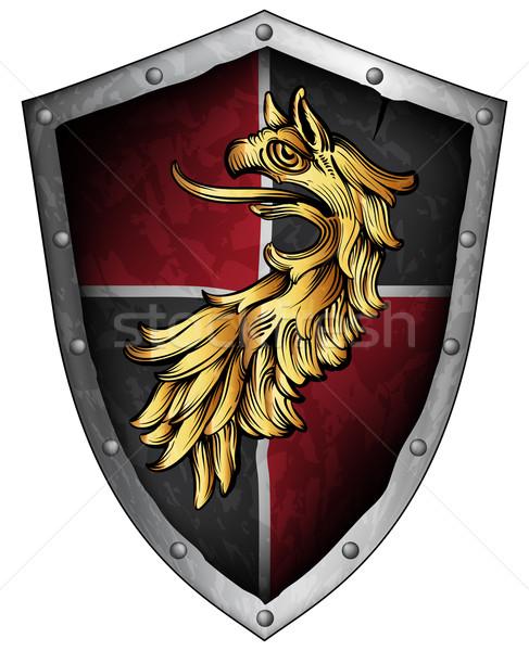 щит средневековых грифон серый красный Сток-фото © kjolak