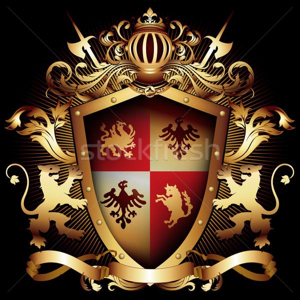 декоративный щит два корона изысканный Сток-фото © kjolak
