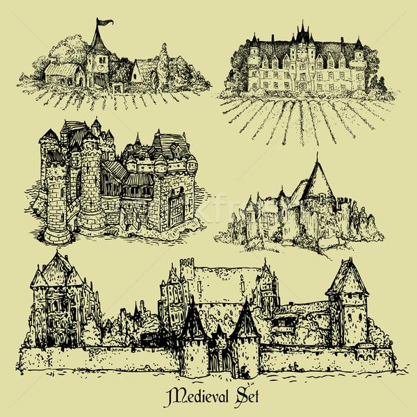 Médiévale châteaux cinquième art rétro Photo stock © kjolak