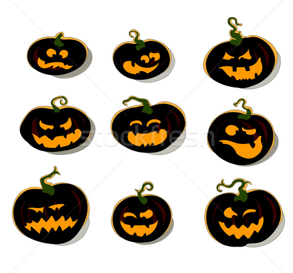Set halloween zucche illustrazione utile designer Foto d'archivio © kjolak