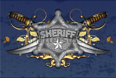 Sheriff csillag fegyverek illusztráció hasznos designer Stock fotó © kjolak