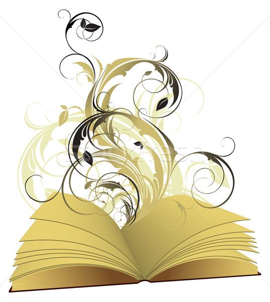 Libro abierto floral ilustración útil disenador Foto stock © kjolak