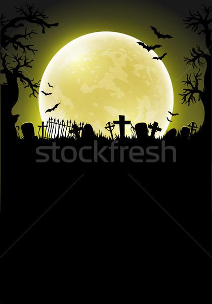 Хэллоуин луна силуэта кладбище фон большой Сток-фото © kjolak