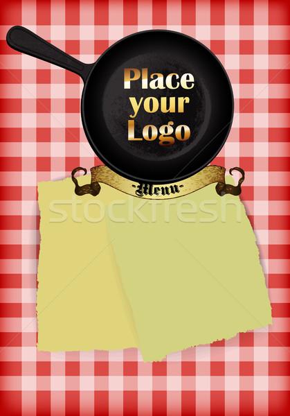 Menu ontwerp schaal zwarte koekenpan witte Stockfoto © kjolak