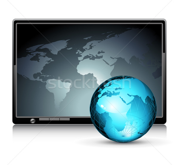 LCD panel with world background Stock photo © kjolak