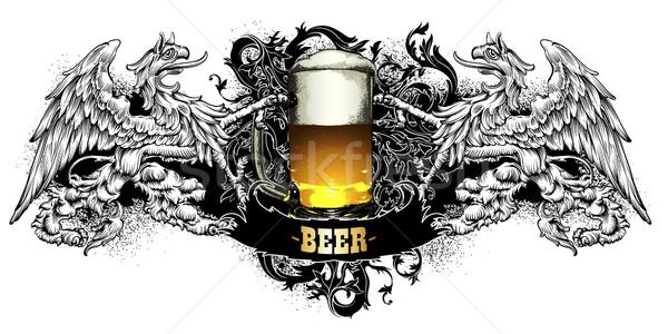 пива Label ретро-стиле черный фон кадр Сток-фото © kjolak