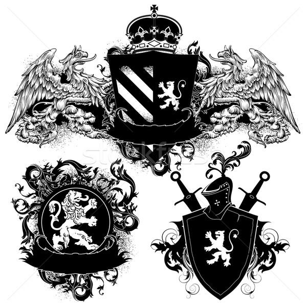 декоративный три щит грифон лев украшенный Сток-фото © kjolak