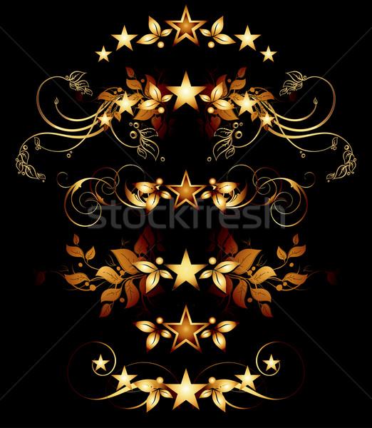Foto stock: Establecer · dorado · diseno · elementos · ilustración · útil