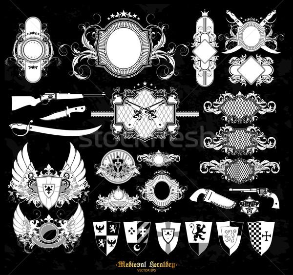 Set of medieval heraldry Stock photo © kjolak