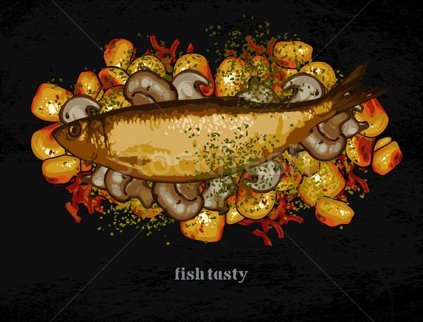 Peces plato adornar patatas setas Foto stock © kjolak