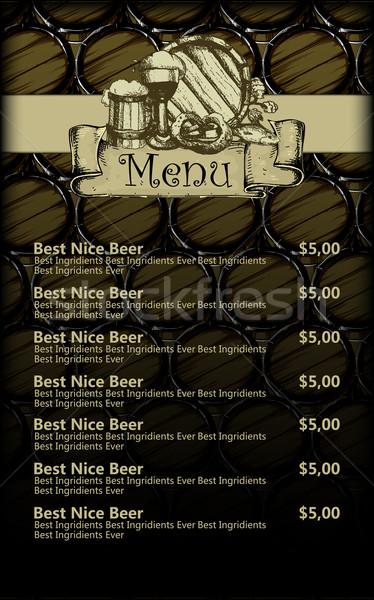 menu design with beer Stock photo © kjolak