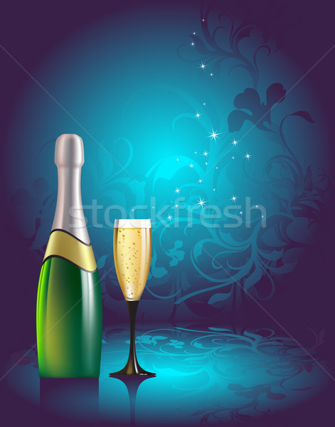 Champagne illustration utile designer travaux bleu Photo stock © kjolak