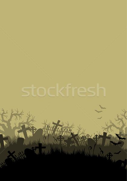 Halloween sziluett temető keresztek keret éjszaka Stock fotó © kjolak