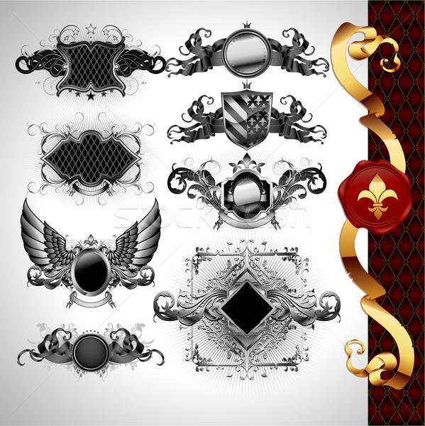 средневековых геральдика иллюстрация полезный дизайнера работу Сток-фото © kjolak